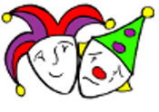 Streetentertainers Logo - jester clown masks happy and sad